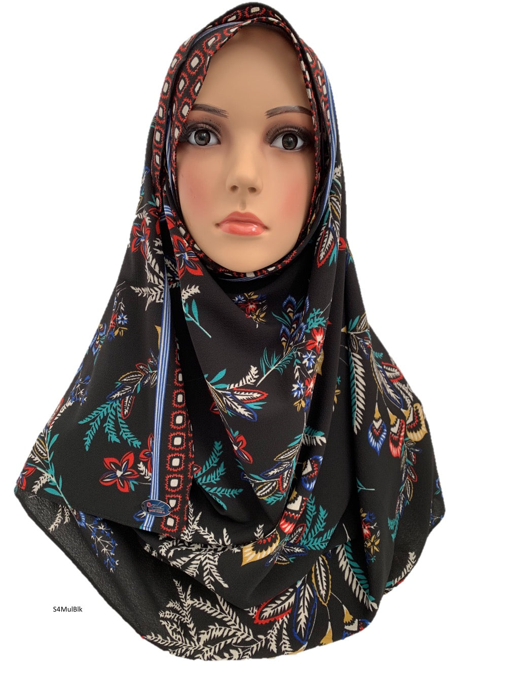 (S4MulBlk) Black multi-coloured printed full-instant hijab