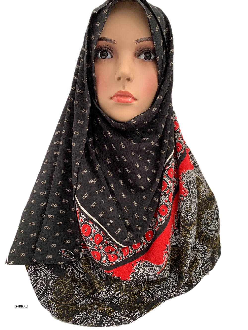 (S4BlkRd) Black red printed full-instant hijab