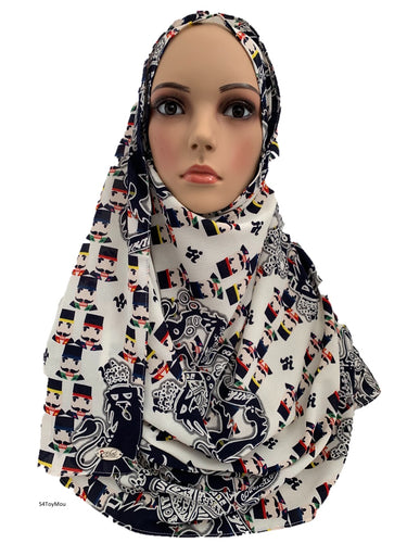(S4ToyMou) White toy printed full-instant hijab