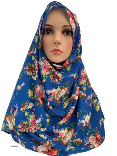 (S4BluBncF) Blue flowers printed full-instant hijab