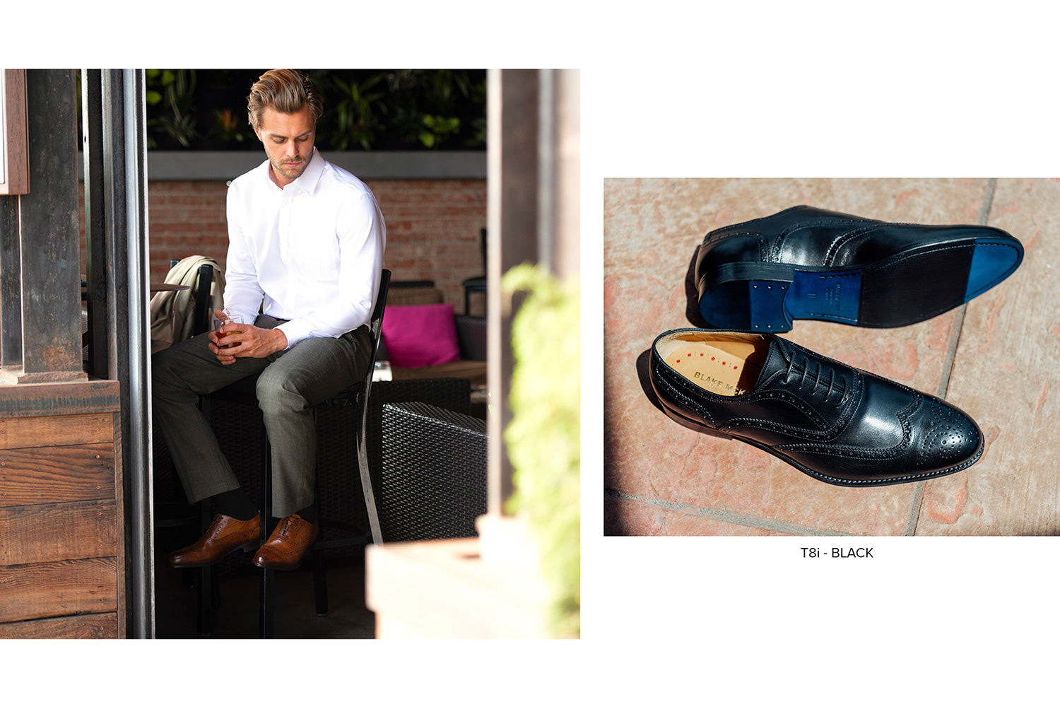 T8i Leandro Wingtip Derby in Black by Blake McKay