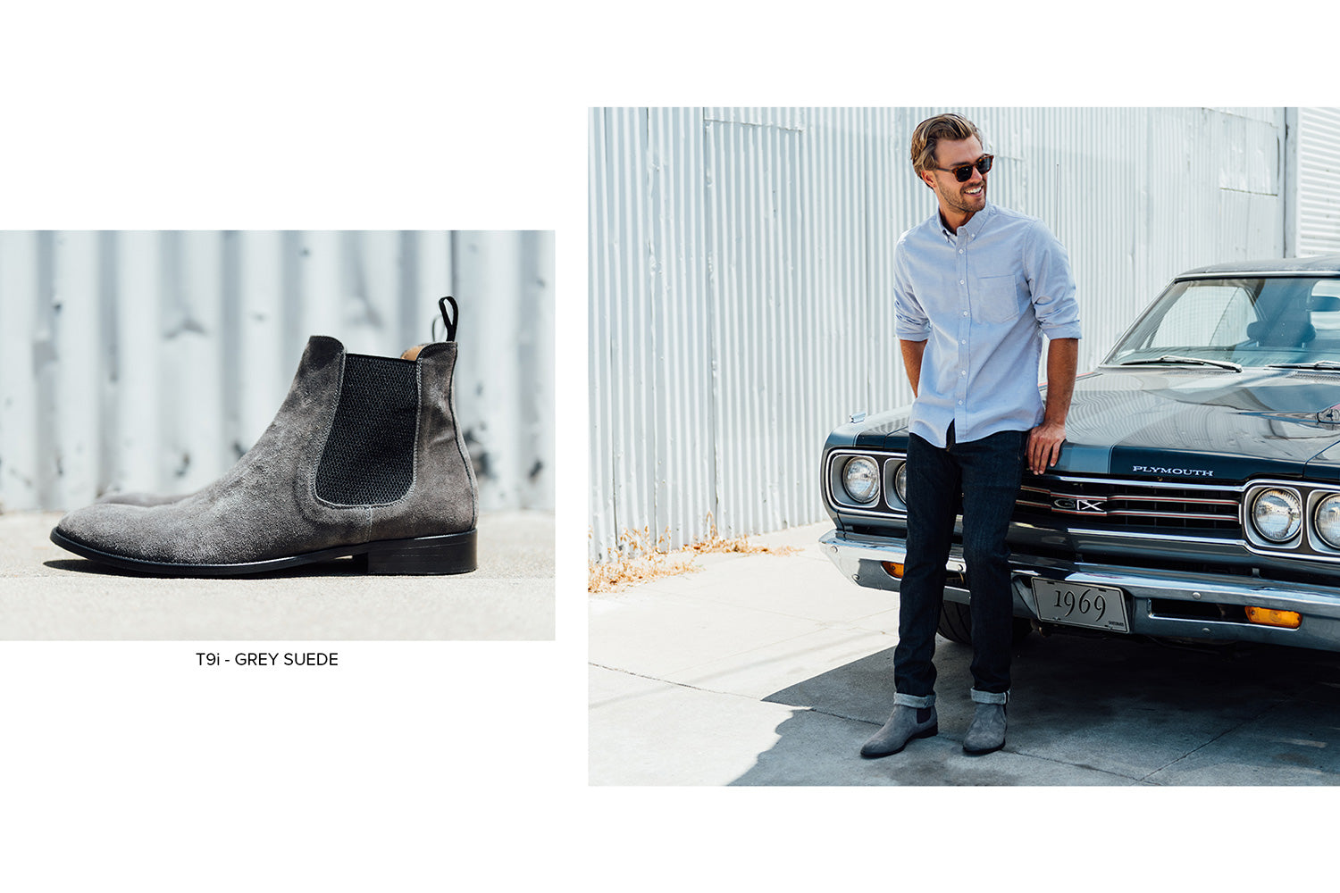 T9i Chelsea Boot in Grey Suede by Blake McKay