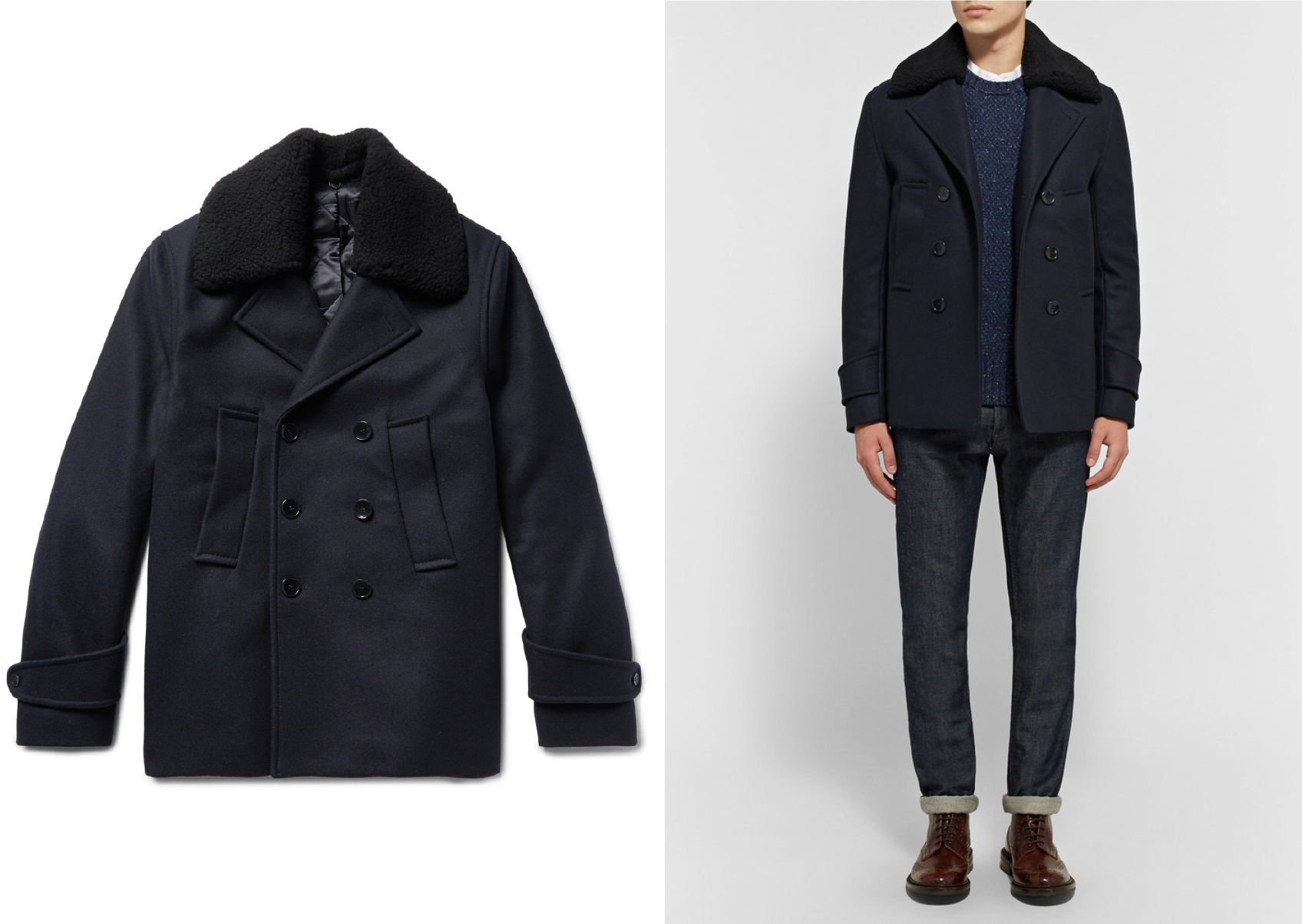 Officine Generale Melton Wool-Blend Peacoat