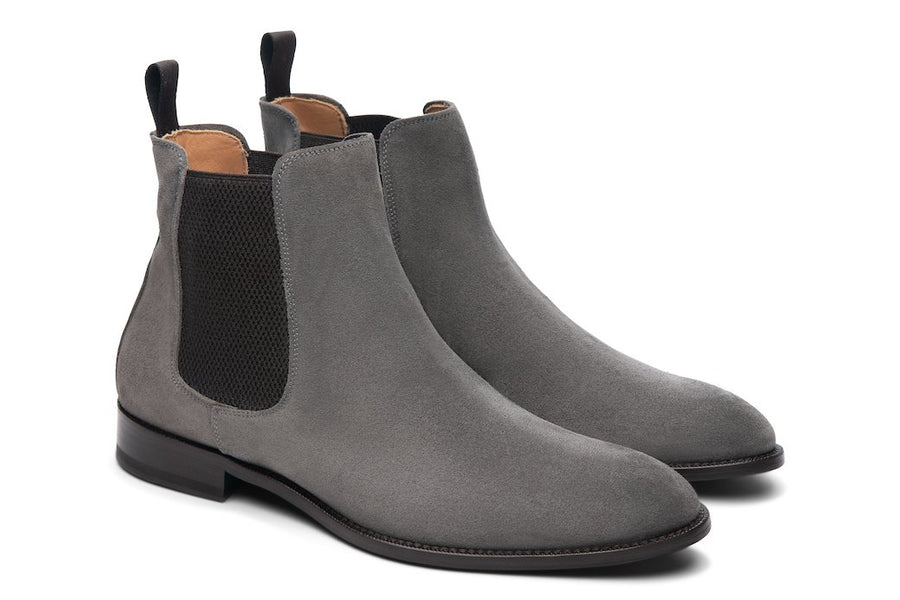 Blake McKay Castello Chelsea Boot in Grey Suede Side View Pair