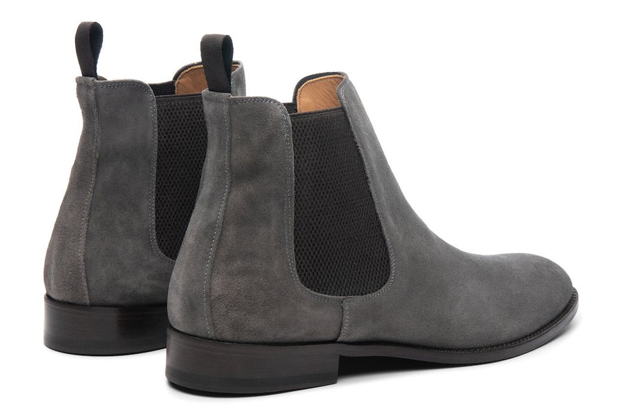 Blake McKay Castello Chelsea Boot in Grey Suede Rear View Pair