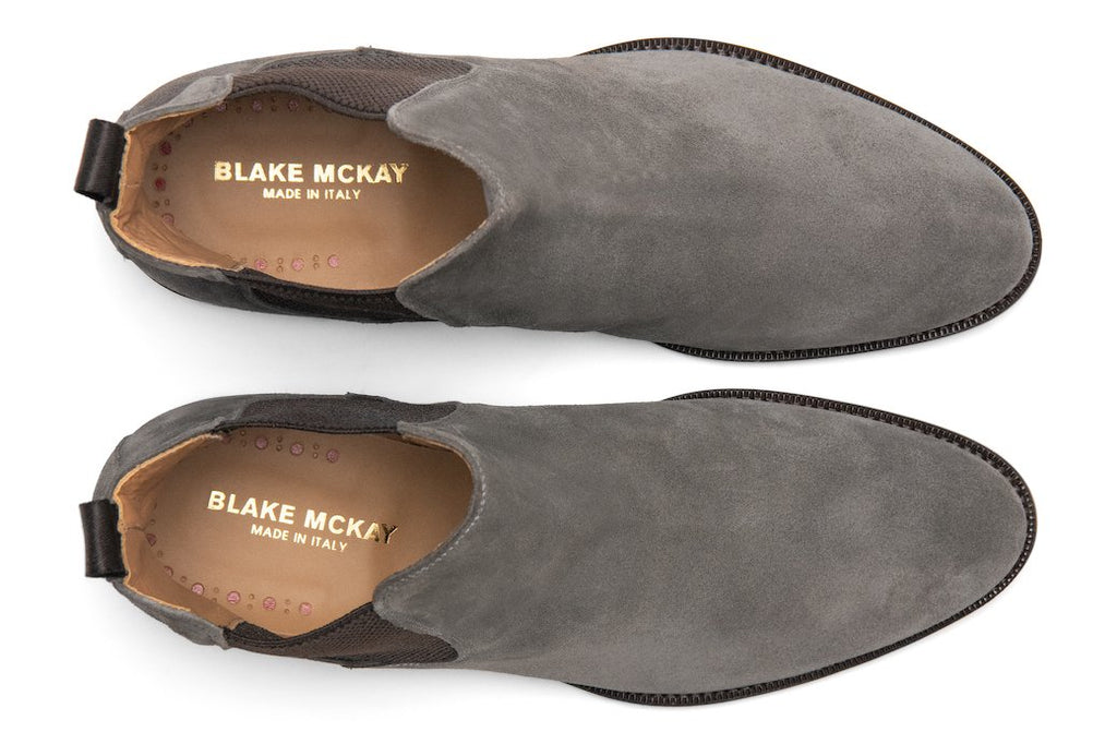 Blake McKay Castello Chelsea Boot in Grey Suede Top View