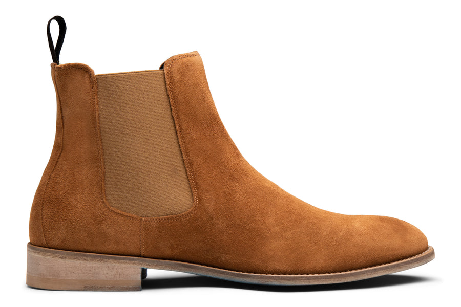 Blake McKay Castello Chelsea Boot in Whiskey Suede Side View