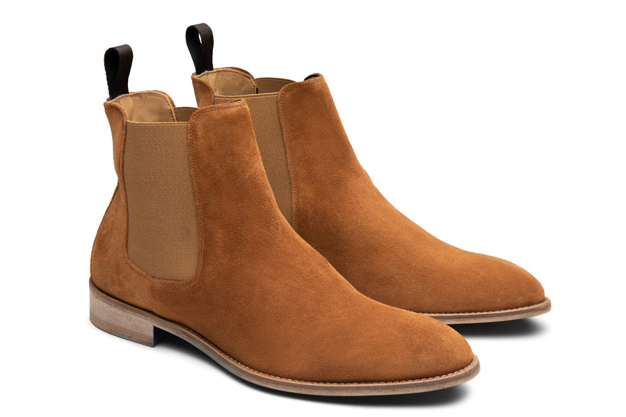 Blake McKay Castello Chelsea Boot in Whiskey Suede Side View Pair