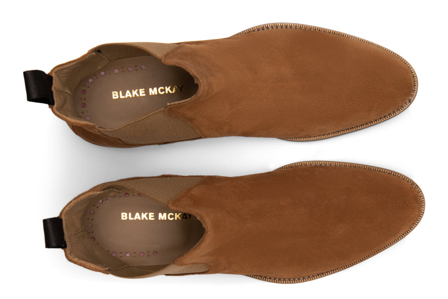 Blake McKay Castello Chelsea Boot in Whiskey Suede  Top View