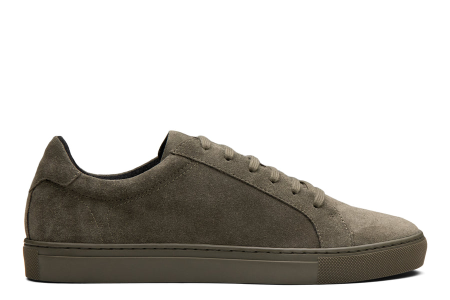 Blake McKay Jay Sneaker in Olive Suede Side View
