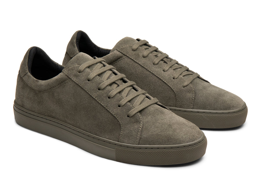 Blake McKay Jay Sneaker in Olive Suede Side View Pair