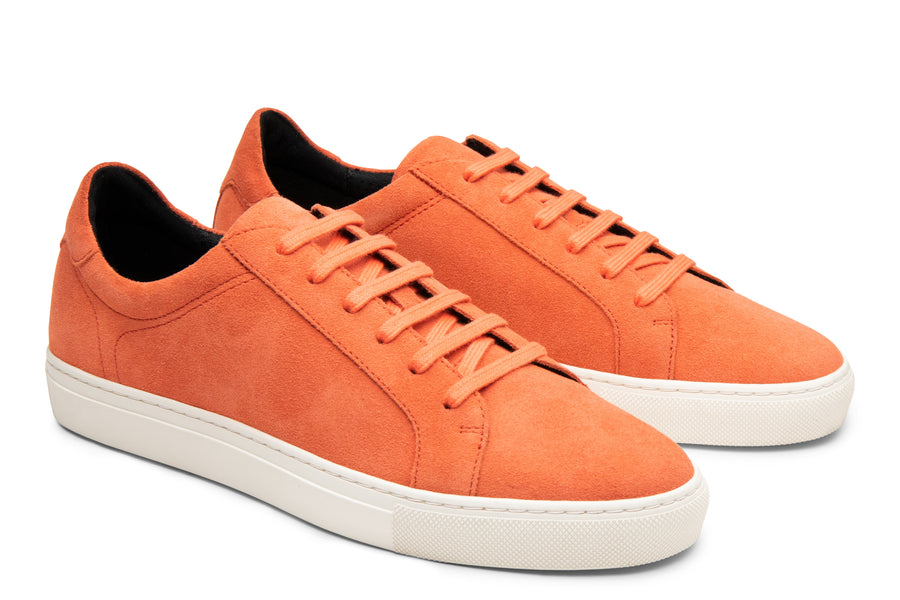 Blake McKay Jay Sneaker in Orange Suede Side View Pair