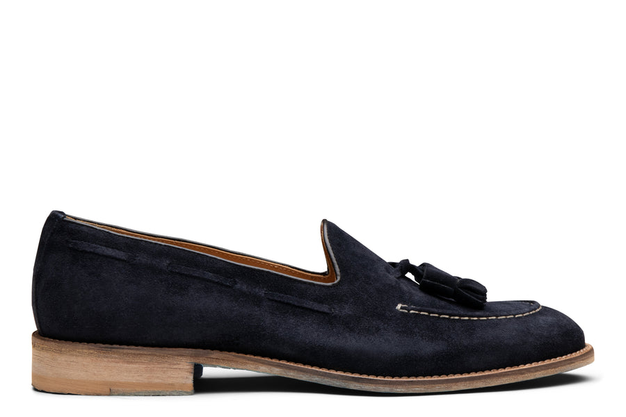 Blake McKay Lucca Tassel Loafer in Navy Suede Side View