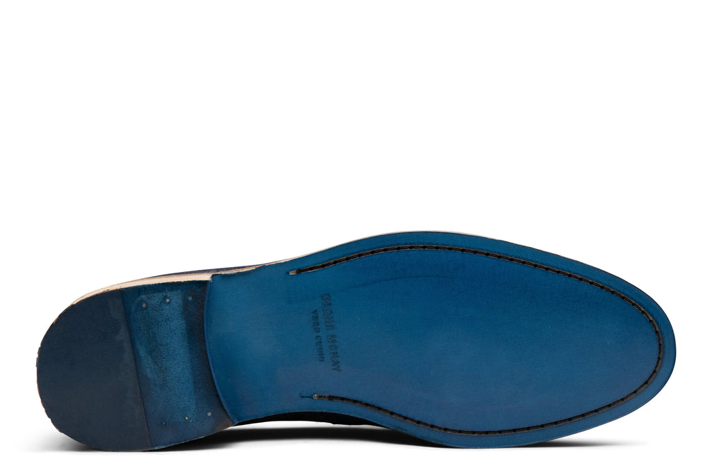 Blake McKay Lucca Tassel Loafer in Navy Suede Bottom View