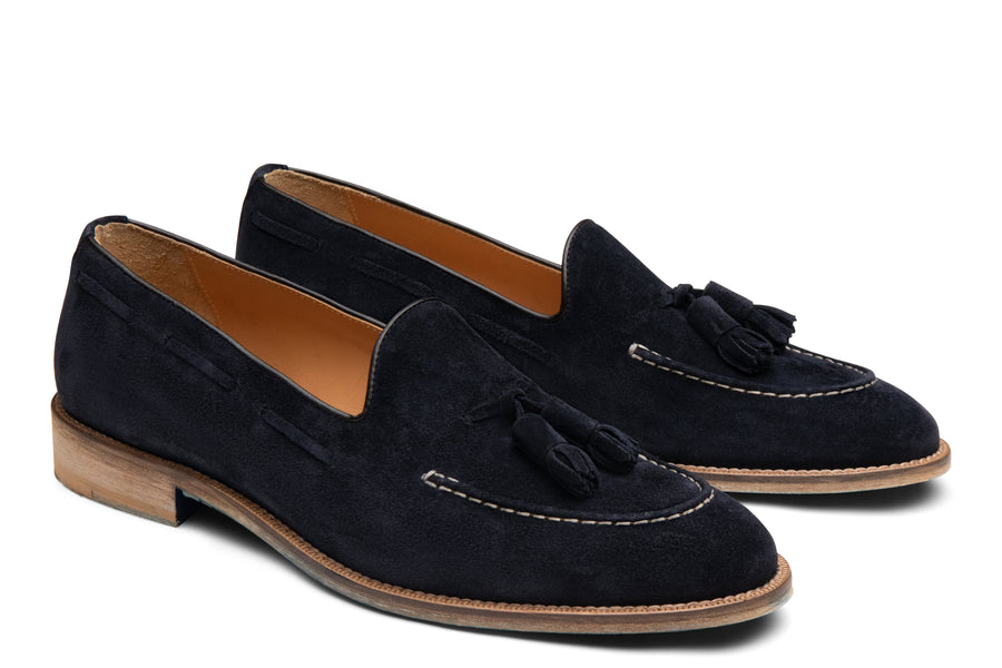 Blake McKay Lucca Tassel Loafer in Navy Suede Side View Pair