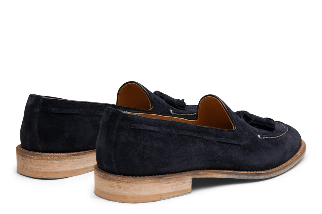 Blake McKay Lucca Tassel Loafer in Navy Suede Rear View Pair