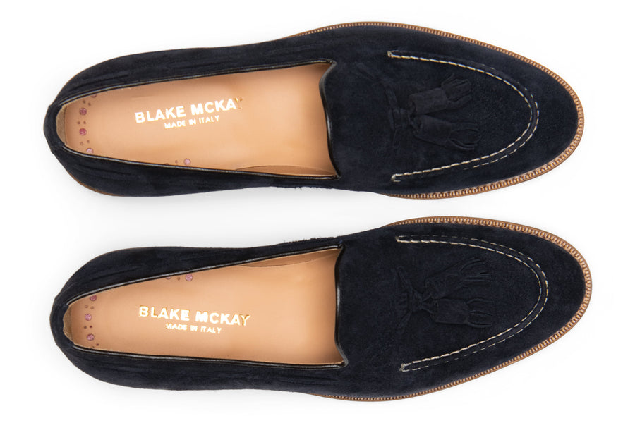 Blake McKay Lucca Tassel Loafer in Navy Suede Top View