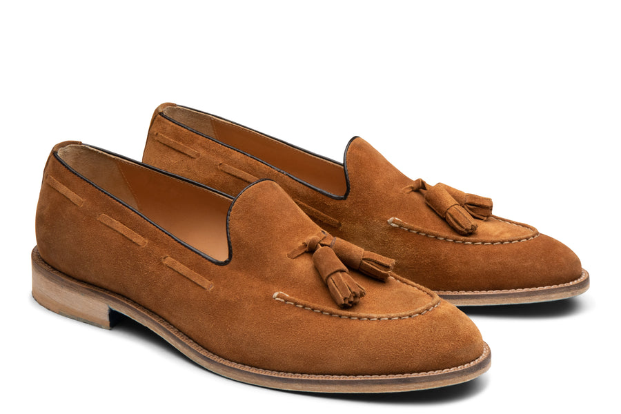 Blake McKay Lucca Tassel Loafer in Whiskey Suede Side View Pair
