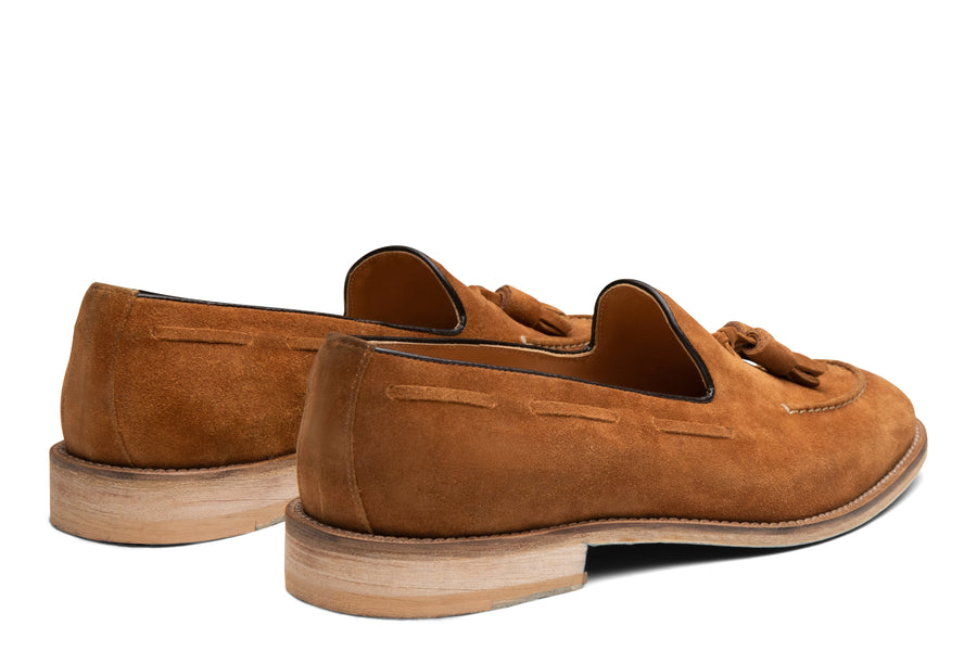Blake McKay Lucca Tassel Loafer in Whiskey Suede Rear View Pair