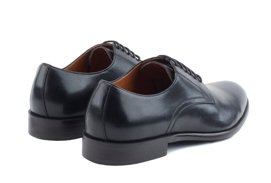 Blake McKay Nolan Plain Toe Derby in Black Rear View Pair