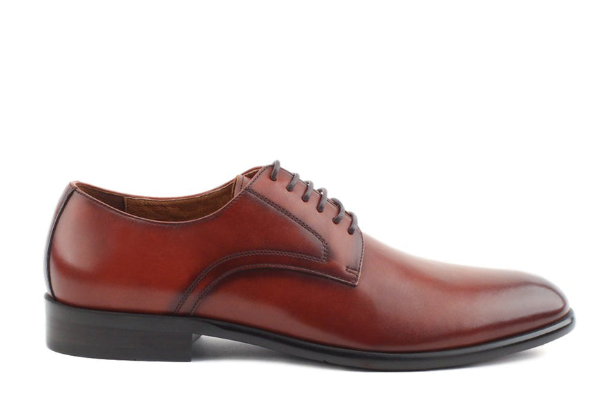 Blake McKay Nolan Plain Toe Derby in Brandy Side View