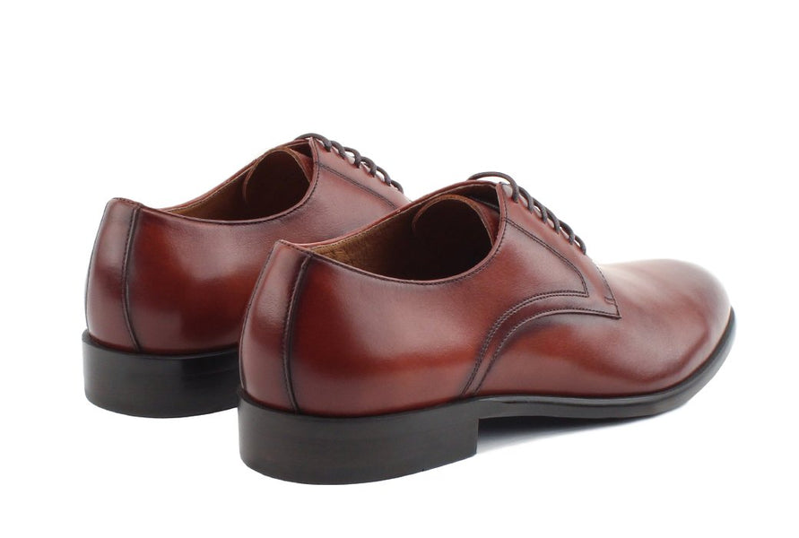 Blake McKay Nolan Plain Toe Derby in Brandy Rear View Pair