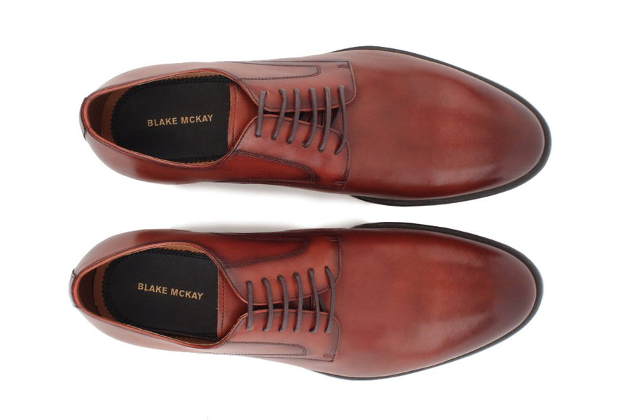 Blake McKay Nolan Plain Toe Derby in Brandy Top View