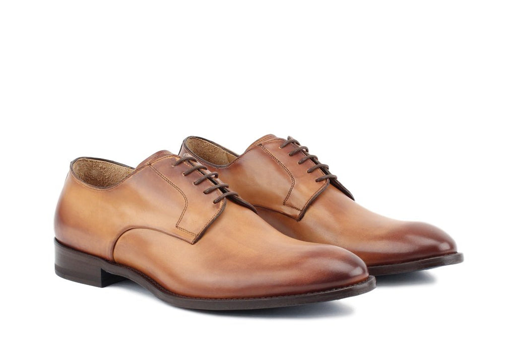 Blake McKay Alessandro Derby Shoe in Cognac Side View Pair