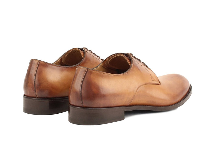 Blake McKay Alessandro Derby Shoe in Cognac Rear View Pair