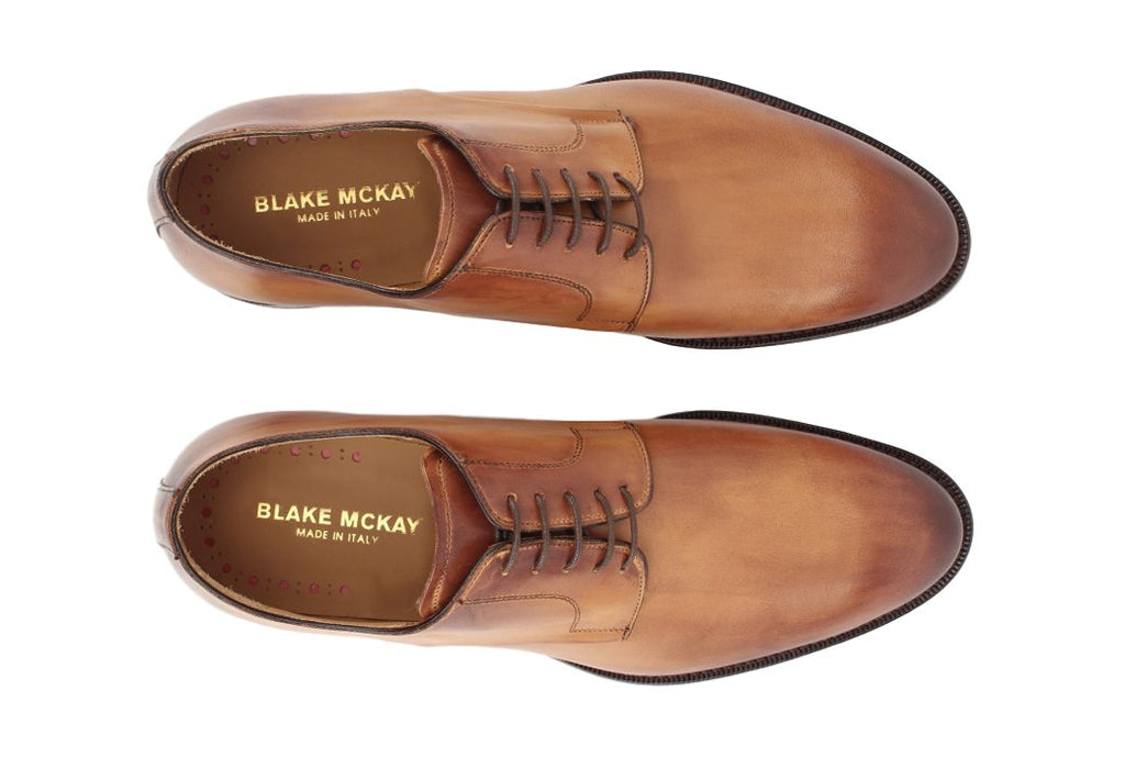 Blake McKay Alessandro Derby Shoe in Cognac Top View