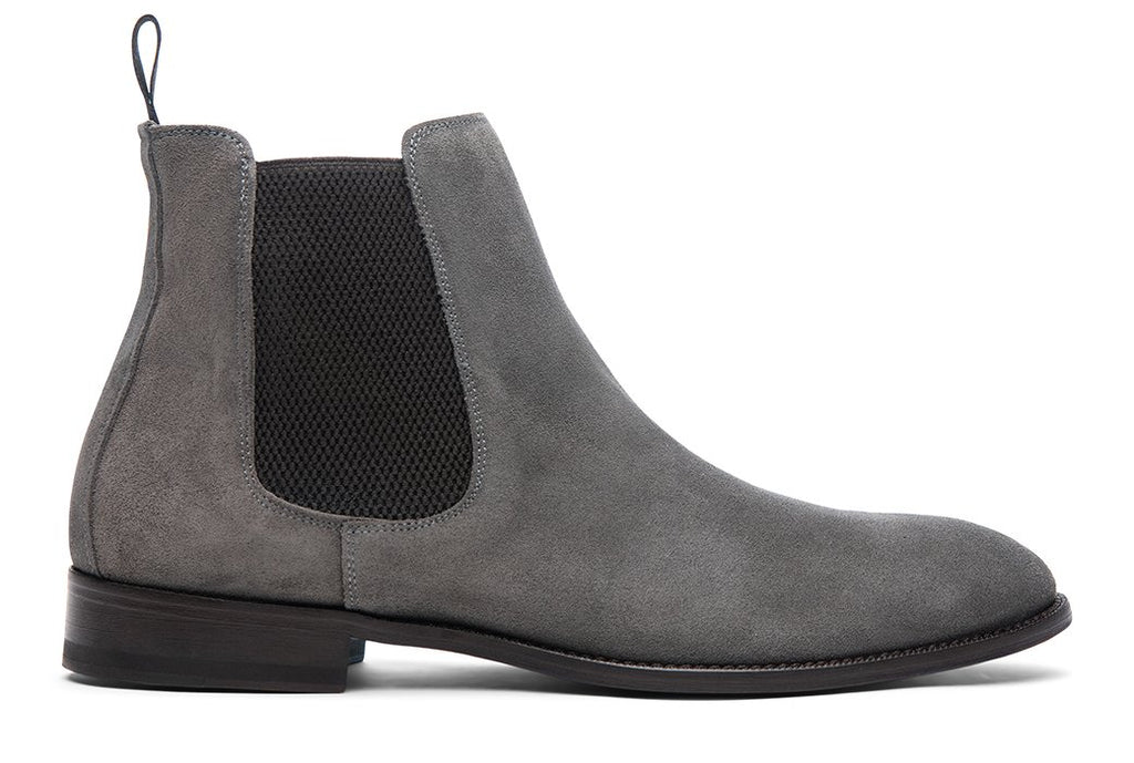Blake McKay Castello Chelsea Boot in Grey Suede Side View