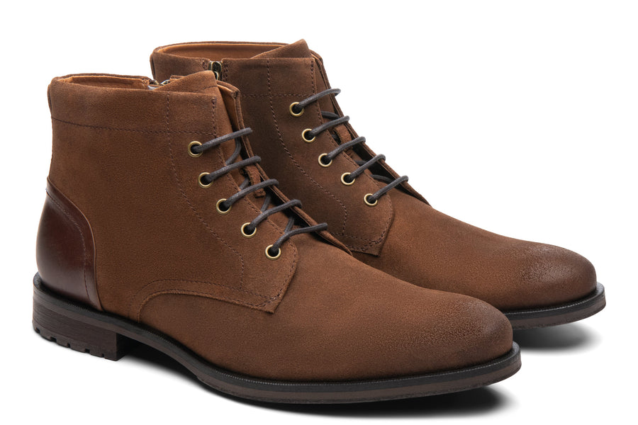 Blake McKay Zachary Boot in Natural/Tobacco Suede Side View Pair