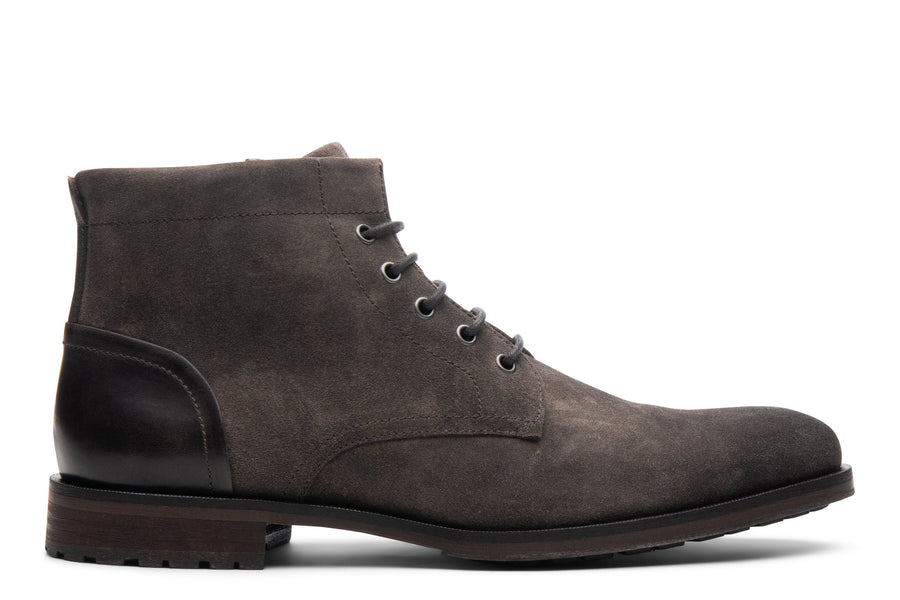 Blake McKay Zachary Boot in Gunmetal Suede Side View
