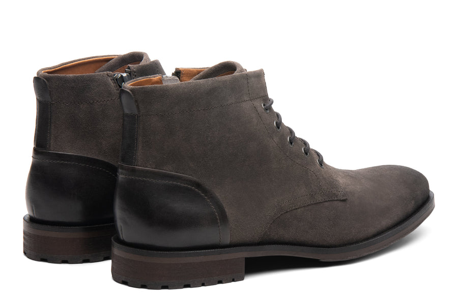 Blake McKay Zachary Boot in Gunmetal Suede Rear View Pair