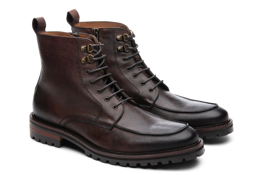 Blake McKay Warren Lug Boot in Chestnut Side View Pair