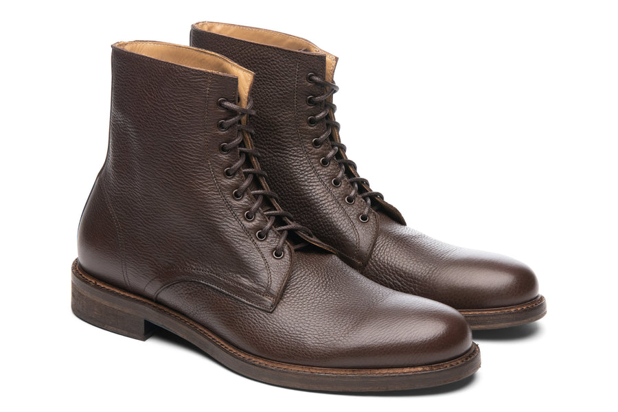 Blake McKay Dante Lace-Up Boot in Chocolate Side View Pair