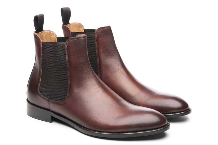 Blake McKay Castello Chelsea Boot in Brandy Side View Pair