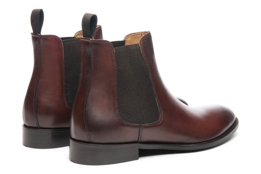 Blake McKay Castello Chelsea Boot in Brandy Rear View Pair