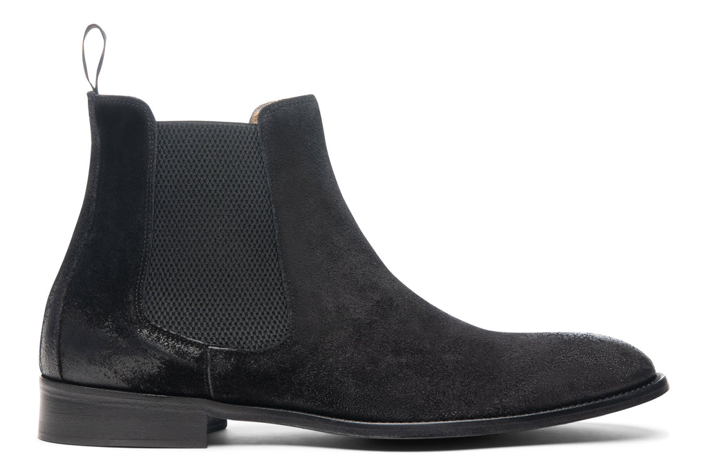 Blake McKay Castello Chelsea Boot in Black Suede Side View