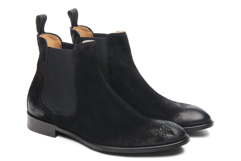 Blake McKay Castello Chelsea Boot in Black Suede Side View Pair
