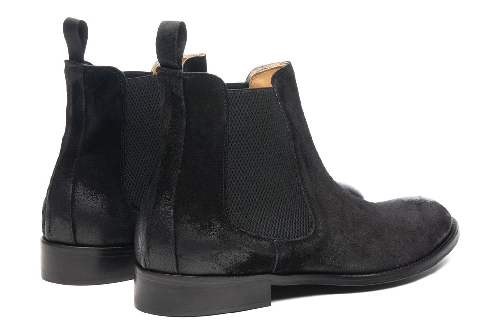 Blake McKay Castello Chelsea Boot in Black Suede Rear View Pair
