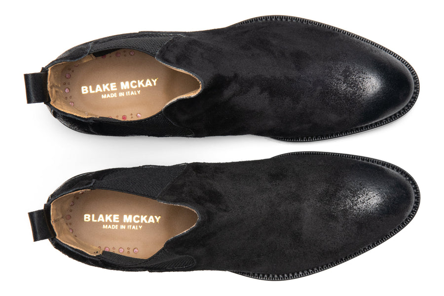 Blake McKay Castello Chelsea Boot in Black Suede Top View