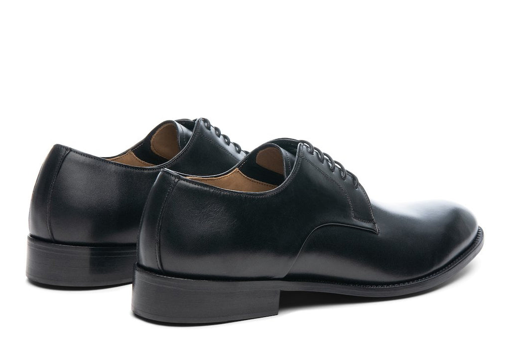 Blake McKay Alessandro Derby Shoe in Black Rear View Pair