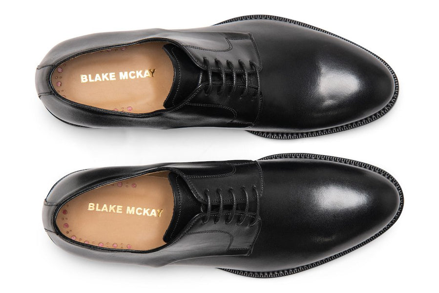 Blake McKay Alessandro Derby Shoe in Black Top View