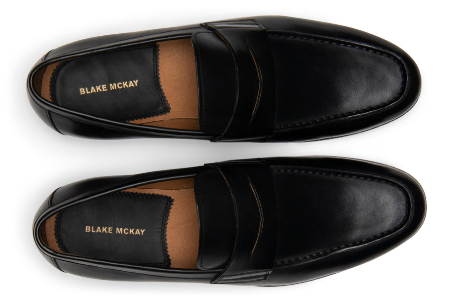 Blake McKay Zane Penny Loafer in Black Top View