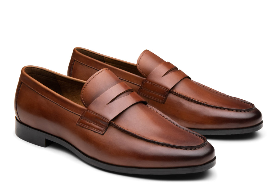 Blake McKay Zane Penny Loafer in Brandy Side View Pair