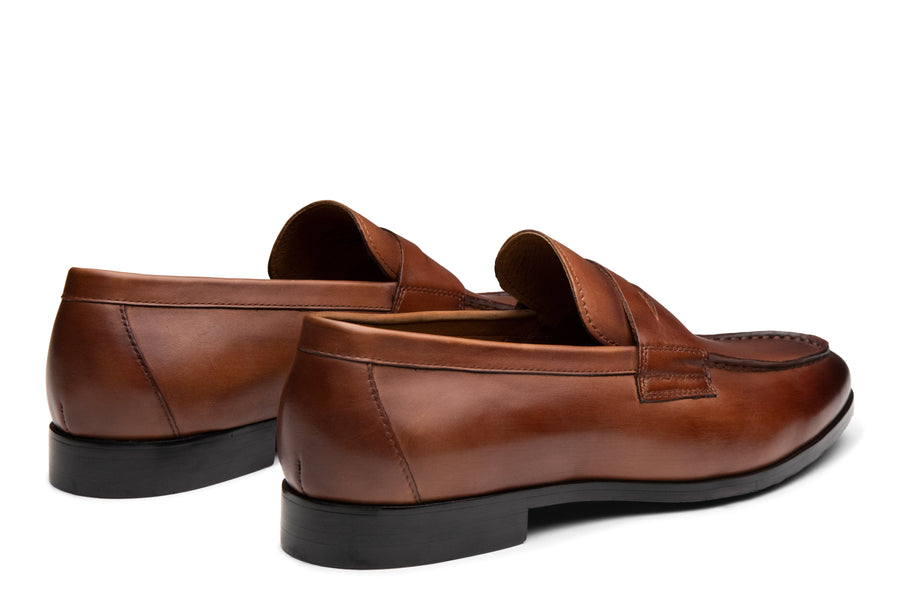 Blake McKay Zane Penny Loafer in Brandy Rear View Pair