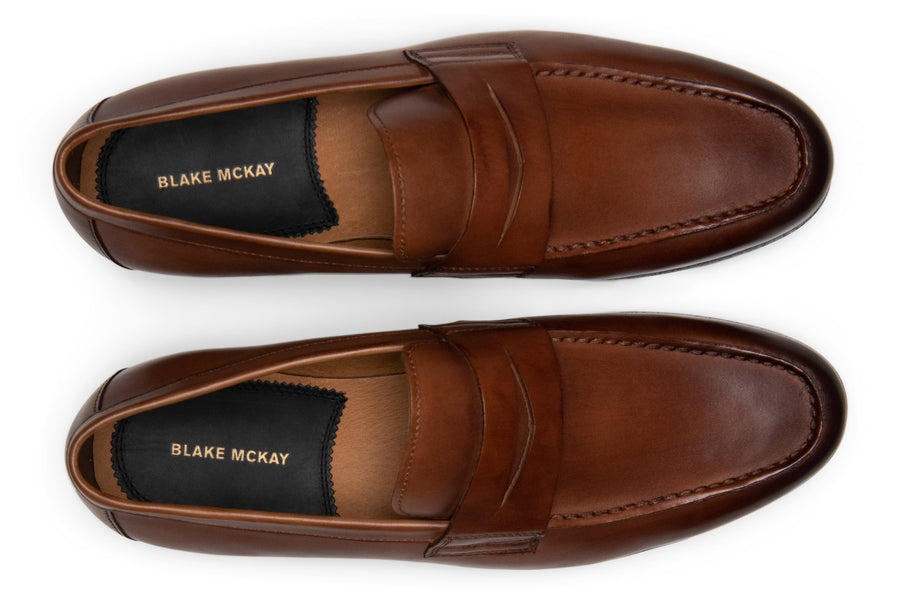 Blake McKay Zane Penny Loafer in Brandy Top View