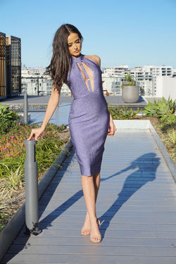 PURPLE TEASE MIDI DRESS