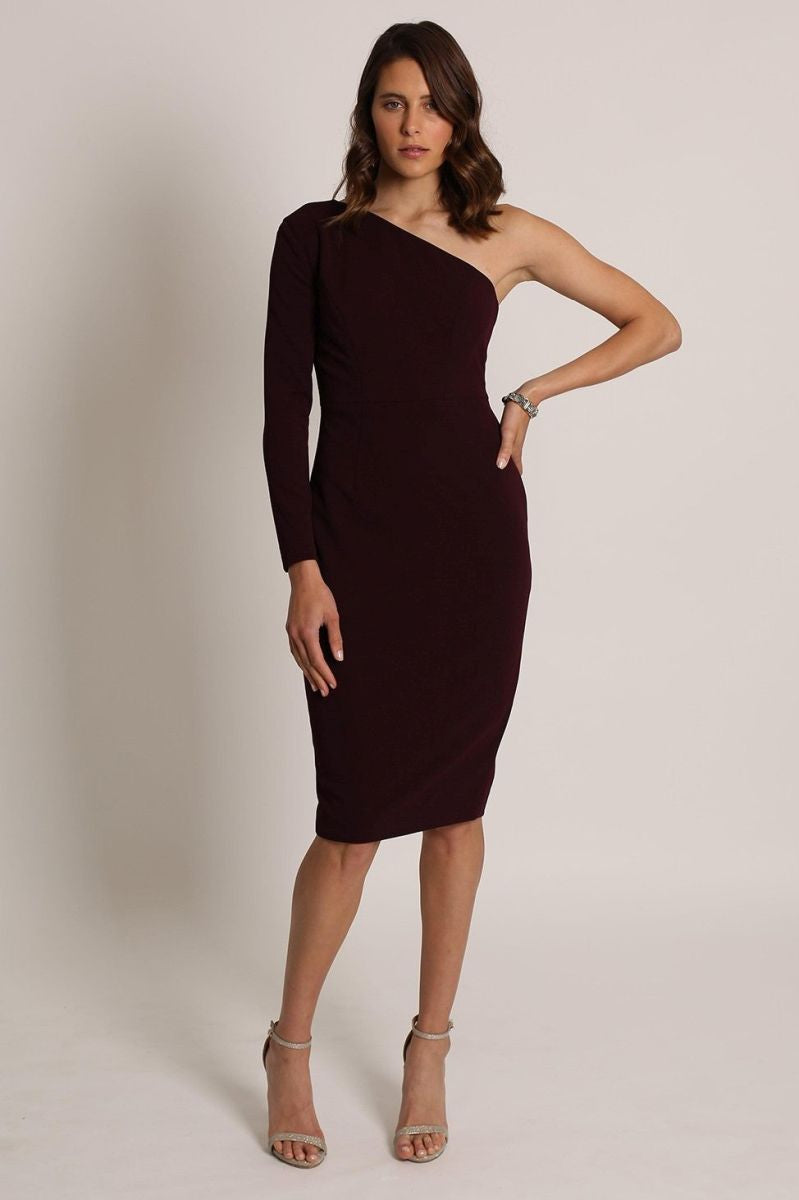 LYLA ONE SHOULDER DRESS-romance the label-front-burgundy